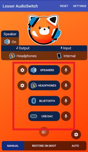 Принудительный выбор аудио выхода (динамик, наушники, bluethooth)